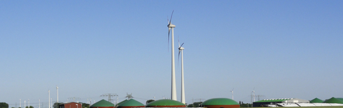 Biogas plant with wind power plants in the region Havelland (Photo: DBFZ)